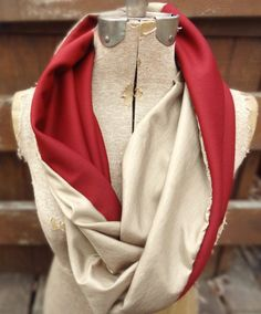 Metallic gold and red knit infinity scarf by PaleDesign on Etsy, $21.00