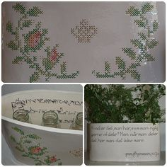 Cross stitched and embroidered ceramic jar created by Irene Johansen.