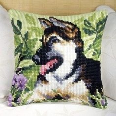German Shepherd Cushion Front - Cross Stitch Kit. Shipping is Free