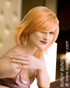 strawberry blonde hair color-like the cut, wouldn't get the color, maybe a bit darker wouldn't be to bad.