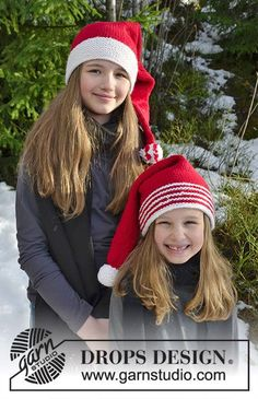 Hat with striped edge and hat with white edge for kids for Christmas. Piece is knitted in DROPS Nepal.