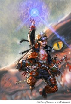 Badass Naruto holding a Rasengan with the Nine Tailed Fox in the background.