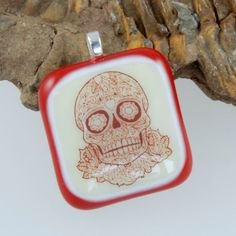 day of the dead fused glass sugar skull pendant by bluedaisyglass