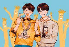 Yoonkook, Namjin, vhopemin etc etc etc - SoPe/YoonSeok Bts Chibi, Namjin, Fan Art, Jikook, Mochila Do Bts, Bts Anime, Fanart Bts, Bts Drawings, Bts Fans
