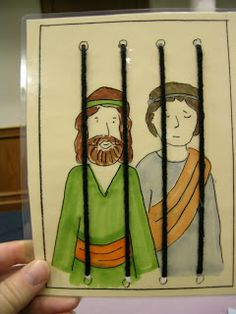 Bible Class Creations: Paul and Silas in prison.  Print picture on card stock.  Punch 4+ holes at top and bottom.  Let children color and then thread yarn through for the bars.