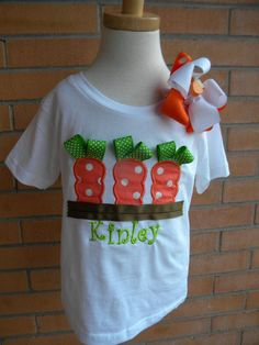 Ribbon Carrots Easter Applique Shirt by tcannon2414 on Etsy, $23.00