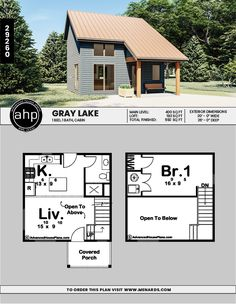 This Modern style cabin plan features a large kitchen and living room with a large bedroom on the second level. Cabin Plans, House Plans, Electrical Plan, Lake Cabins, Roof Plan, Garage Plans, Front Elevation, Large Bedroom, Architecture Plan