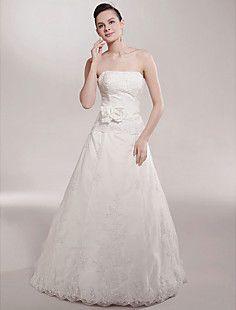 A-line Strapless Court Train Sleeveless Satin Wedding Dress  – USD $ 247.99
