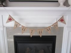 Autumn burlap banner  Fall banner with red by willowbloomwreaths
