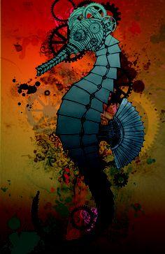 Steampunk Seahorse Art Print by Katie McCarthy | Society6
