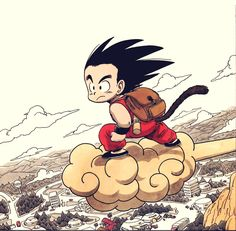 an original illustration from akira toriyama's dragonball.  i love the colors.