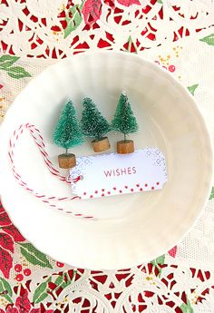 Bottlebrush trees, for a Christmas place setting. would be cute with one standing up in the center of the plate, placecard attached with a string Merry Little Christmas, Noel Christmas, Winter Christmas, All Things Christmas, Christmas Crafts, Xmas, Christmas Wishes, Simple Christmas, Winter Holidays