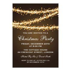Christmas party invitations wreath kraft custom holiday dinner elegant christmas party gold string lights custom invitation stopboris Image collections