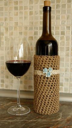 Twine and lace wine bottle cover Kitchen by WildFlowersCrochet