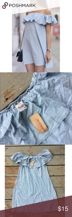 American Rag off the shoulder chambray dress Jean material, light wash. Off the shoulder ruffles. Brand new never worn, just a little wrinkled! Perfect condition Free People Dresses Strapless