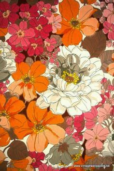 60 s and 70 s retro floral fabric image via vintagewallpapers be retrohomedecor newquay travel art print Motif Vintage, Vintage Colors, Vintage Prints, Retro Vintage, Wallpaper For Sale, Retro Wallpaper, Vintage Wallpapers, Vintage Backgrounds, Floral Wallpapers