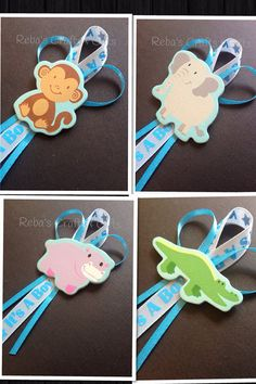 animal ribbons to stick on favors or prizes Distintivos Baby Shower, Peanut Baby Shower, Baby Girl Shower Themes, Baby Shower Favors, Baby Shower Gifts, Baby Showers, Birthday Pins, Baby Shower Invitaciones, Baby Shower Centerpieces