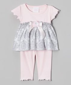 Look what I found on #zulily! Pink & Gray Medallion Babydoll Tunic & Leggings - Infant #zulilyfinds
