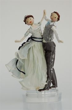Halinka's Fairies-Weddings- Waltz-This charming wedding couple are dancing the waltz with joy. The girl has the palest blue dress and the man a blue neck tie and striped waist coat or they come in ivory colors They measure approximately 16cm from the bottom of the base to the top of the man's head...