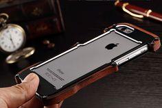 R-Just Iron Man Nyatoh Wood Bumper Aluminum Metal Protective Case for Apple iPhone 6S/ iPhone 6S Plus/ iPhone 6/ iPhone 6 Plus