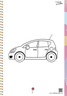 fichas para imprimir y colorear, medios de transporte, coches, infantil y primaria
