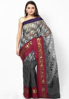 Bunkar Organza Cotton Banarasi Fancy Black Saree