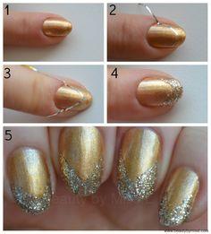 simple glitter manicure tutorial via @beautybymissl #manicure #nailartforbeginners #nailart #nails #glitternails