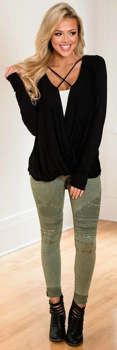 #winter #outfits black v-neck sweater and green denim jeans