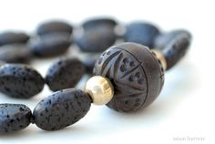 Lava Rock and Wood Necklace