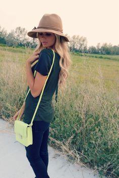 leather sleeves + neon bag