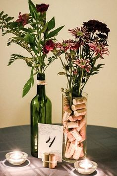 58 Simple But Beautiful Wedding Centerpiece Ideas Using Wine Bottles VIs-Wed wedding centerpieces Wine Bottle Centerpieces, Wedding Wine Bottles, Flower Centerpieces, Wine Cork Centerpiece, Wine Bottle Vases, Bottle Candles, Empty Bottles, Wine Glass, Glass Vase