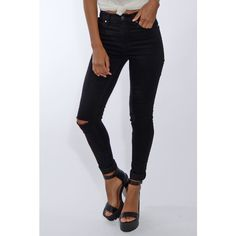 Rare London Black Ripped Skinny Jeans ($50) ❤ liked on Polyvore