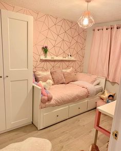 Girls Room Decor Ideas to Change The Feel of The Room - EnthusiastHome Ikea Girls Bedroom, Girls Bedroom Wallpaper, Bedroom Decor For Teen Girls, Room Design Bedroom, Cute Bedroom Ideas, Girl Bedroom Designs, Room Ideas Bedroom, Home Room Design, Small Room Bedroom