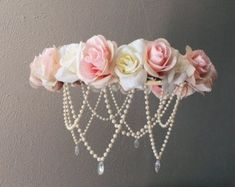 Items similar to Flower mobile on Etsy Large Light pink and cream faux flower mobile. Faux Flowers, Paper Flowers, Hanging Flowers, Girl Nursery, Girl Room, Chic Nursery, Baby Crafts, Diy And Crafts, Deco Luminaire