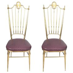 Two Tall Back Brass Italian Side Chairs with Aubergine Crocodile Leather Seats | See more antique and modern Chairs at http://www.1stdibs.com/furniture/seating/chairs