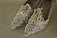 Marie Antoinette Blue and Ivory Lace Heels by OxfordIsHeaven  -- I collect clothes and costumes, but it'll be fun to move the history of clothes over here. I adore the wardrobe of this woman!