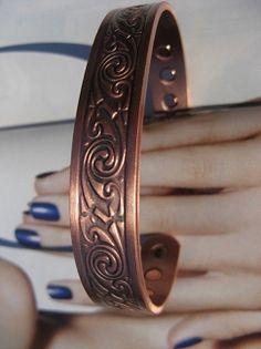 Men's 8 Inch Solid Copper Magnetic Cuff Bracelet CBM973 - 1/2 of an inch wide.