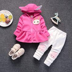 BibiCola baby girls spring autumn clothing sets cartoon rabbit hooded  clothes suits kids girls sports sets newborn girls outfits faedda468562