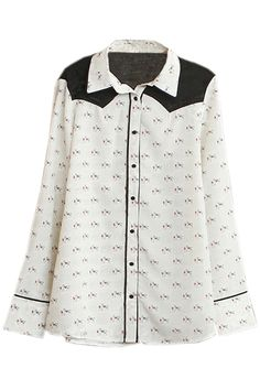 Contrast Color Horse Print Shirt. Description White Shirt, featuring polo collar, animal print all over, buttoned on front and cuffs, contrasting black on shoulder, long sleeves, slim fit, soft-touch fabric. Fabric Chiffon Washing Cool hand wash with similar colours, do not tumble dry. #Romwe
