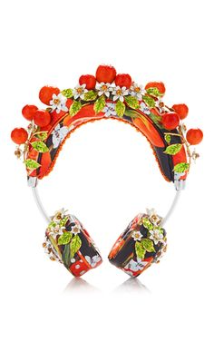 Although the inspiration may have been post World War II Italy, Dolce & Gabbana is always steeped in the now. These headphones by **Dolce & Gabbana** are rendered in calf leather and feature an intricate orange floral design. Crown Headphones, Cute Headphones, Evolution Of Fashion, Girly Things, Nice Things, Baby Things, Random Things, Swarovski Jewelry, Orange Blossom