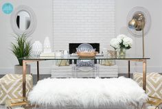 Love where you work by incorporating #rosegold highlights and faux fur bench to add warmth in the office - NPD Furniture