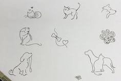 Tatuagens Pequenas e Delicadas +De 120 Modelos de desenhos Dog Tattoos, Mini Tattoos, Couple Tattoos, Cat Tattoo, Body Art Tattoos, Small Tattoos, Tatoos, Tattoos On Side Ribs, Doodle Images