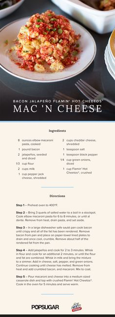 """The Spiciest Mac and Cheese on the Planet      PopSugar   """"Trust us you are going to love this bacon jalapeño Flamin' Hot Cheetos mac and cheese!"""""""