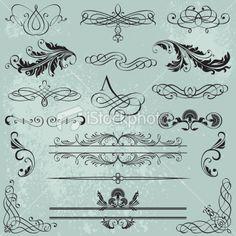 Set Calligraphic Design Elements Royalty Free Stock Vector Art Illustration