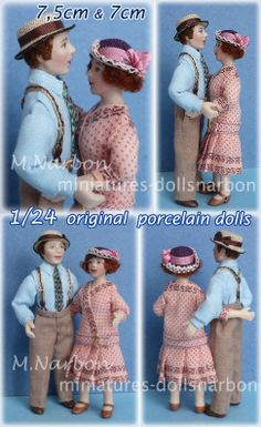 Custom dolls Half inch scale porcelain dolls by Maria Narbon