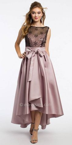 Satin Sequin High Low Prom Dress by Camille La Vie