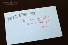 Kristina Grum: Lunch time love notes