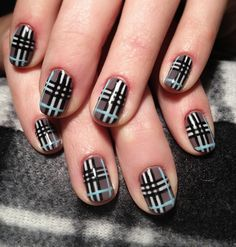 these are excellent burberry nails Plaid Nail Designs, Plaid Nail Art, Plaid Nails, Cute Nail Designs, Fancy Nails, Love Nails, How To Do Nails, Pretty Nails, Burberry Nails