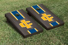 Our 	Ithaca IC Bombers Cornhole Game Set Onyx Stained Stripe Version. Get your custom set at victorytailgate.com