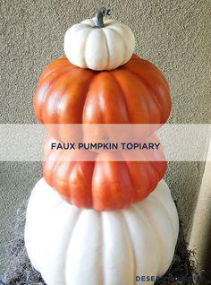 DIY Faux Pumpkin Topiary